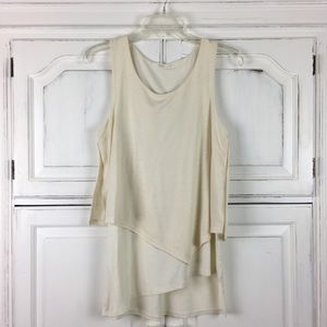 Le Lis Ivory Cream Layered Tank Asymmetrical Hem